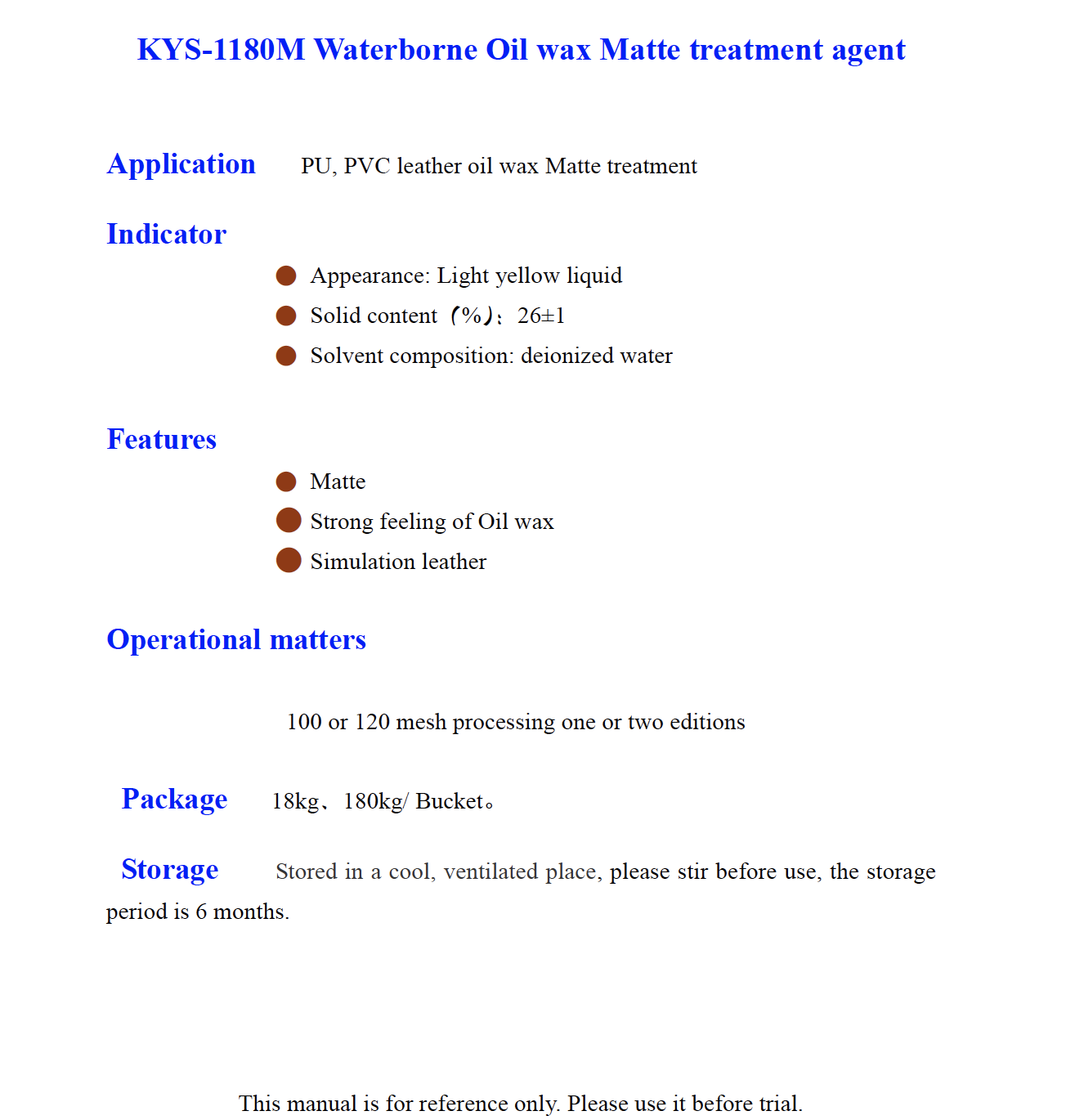 KYS 1180M Waterborne Oil wax Matte treatment agent